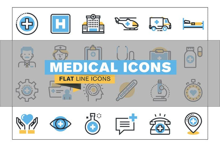 Thumbnail for Flat line colorful icons collection