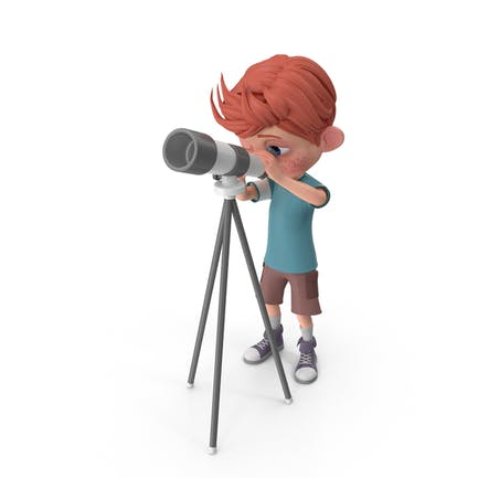 Cartoon Boy Charlie Blick durch Teleskop