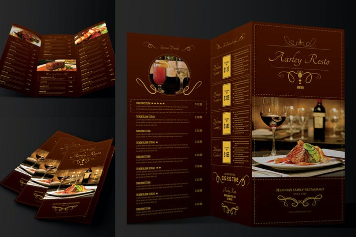 Cover Image For Elegant Restaurant Menu Trifold