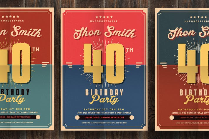 Cover Image For Retro Birthday Party Flyer