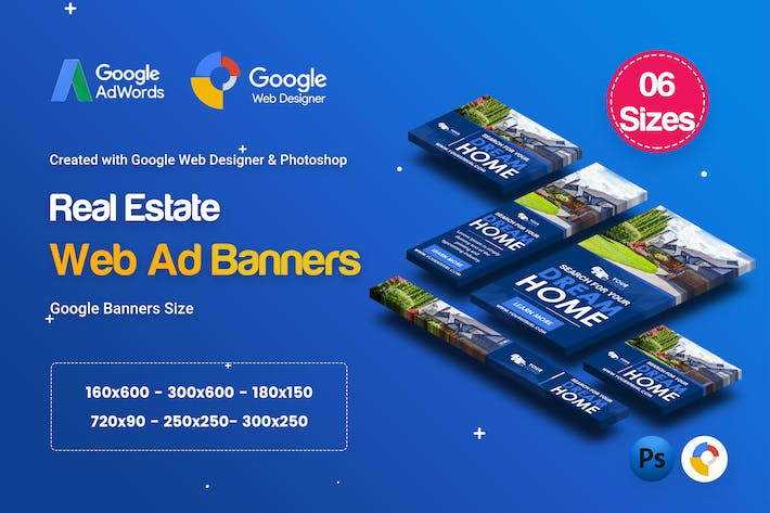 Thumbnail for C30 - Real Estate Banners HTML5 Ad - GWD & PSD