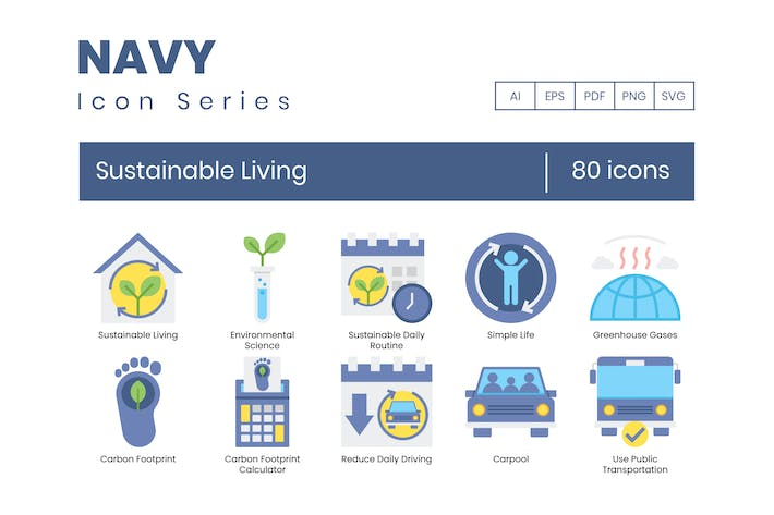 80 Sustainable Living Icons - Navy Series