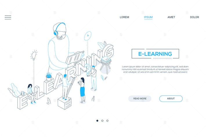 Thumbnail for E-learning - line design style isometric banner