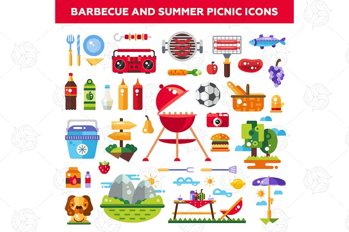 Thumbnail for Barbecue and summer picnic - flat design icons