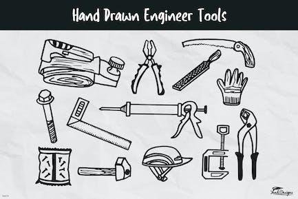 Handgezeichnete Ingenieurwerkzeuge