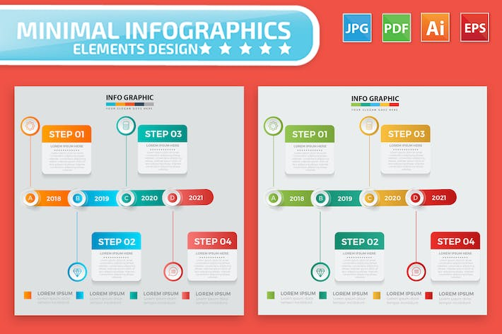 Thumbnail for Timeline Infographic Elements Design