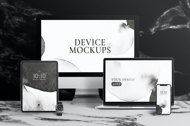 Set of digital device screen mockup