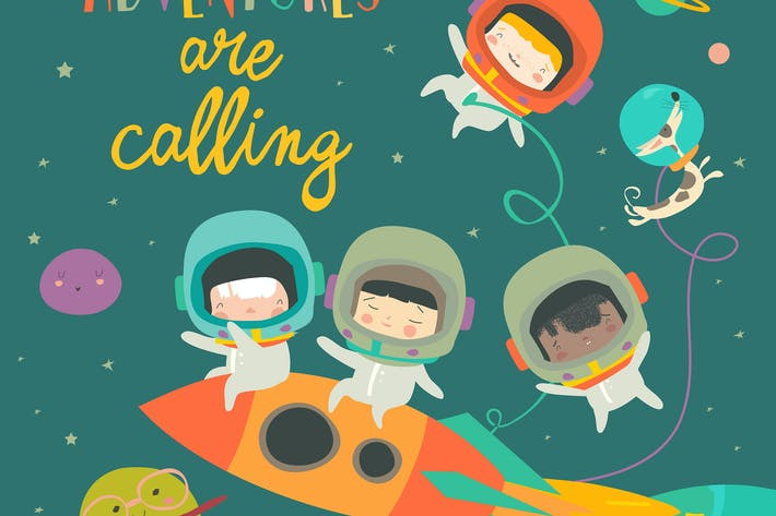 Thumbnail for Girls ans boys astronauts riding a rocket. Vector