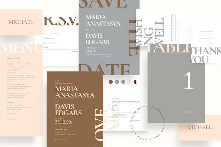 Thumbnail for Ensemble d'invitation de mariage minimal AE