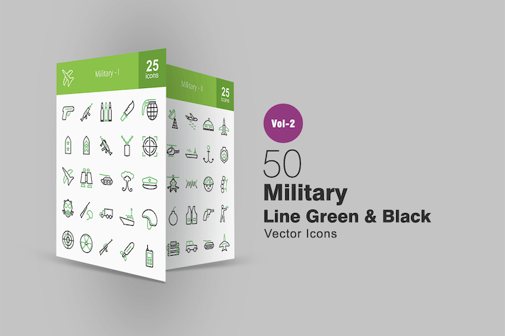 Thumbnail for 50 Military Line Green & Black Icons