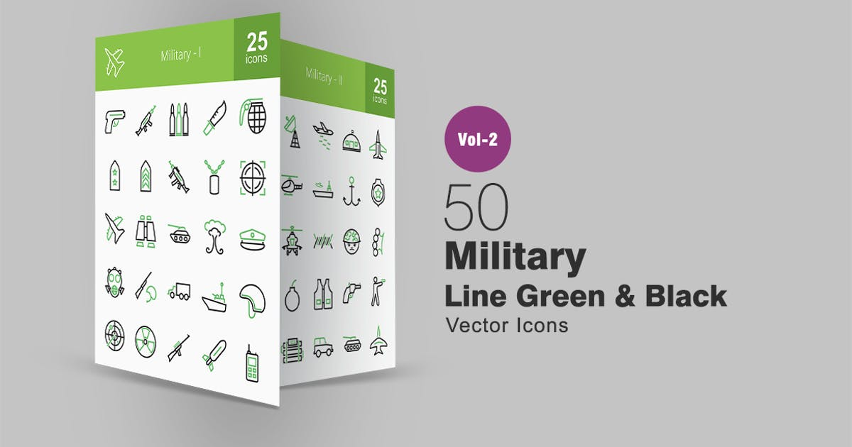 Download 50 Military Line Green & Black Icons by IconBunny