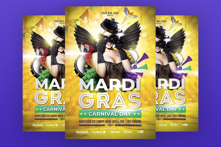Thumbnail for Mardi Gras Flyer Template