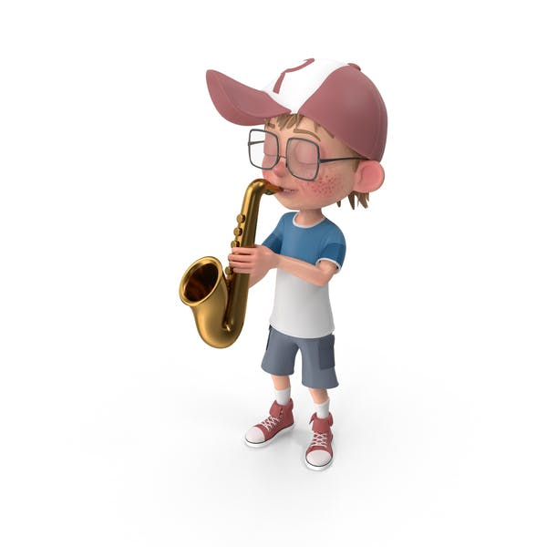 Cartoon Boy Harry Playing Saxophone