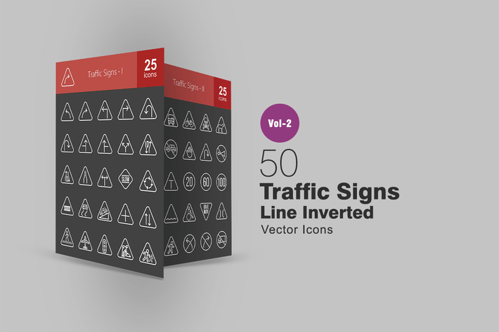 50 Traffic Signs Line Inverted Icons
