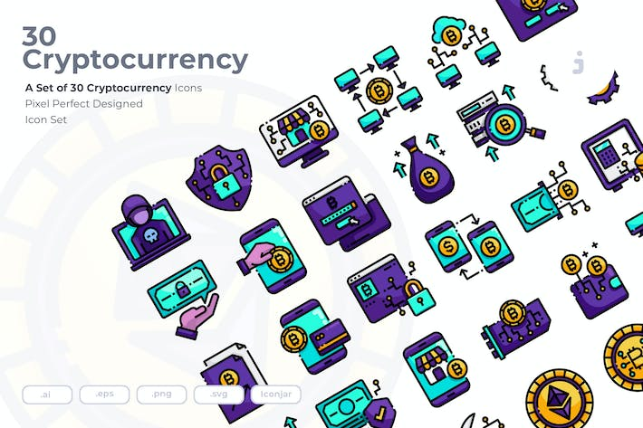 Thumbnail for 30 Cryptocurrency Icons