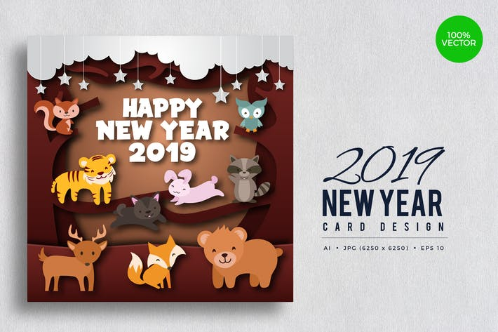 Cover Image For Cute Wildlife Animal Happy New Year 2019 Card 2