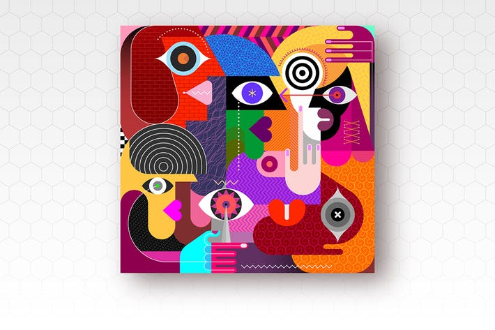Thumbnail for Five People modern art vector illustration