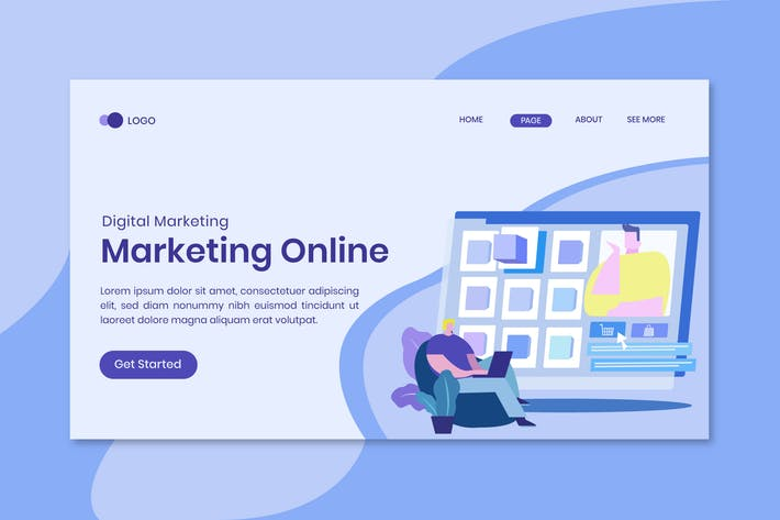 Marketing online modern flat design