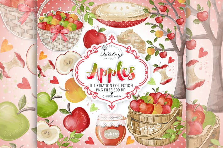 Thumbnail for Watercolor Apples Clipart