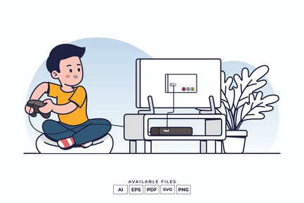 Playing Video Game Illustration