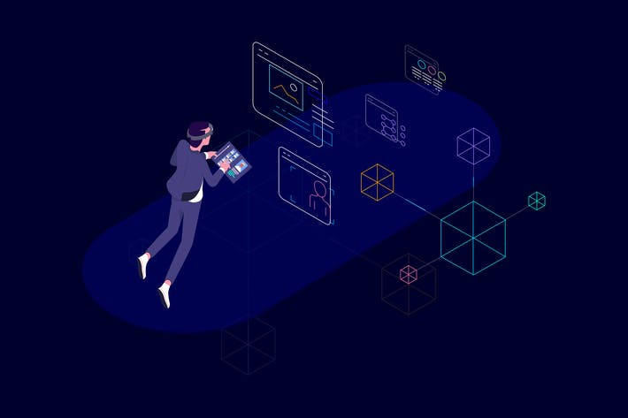 Thumbnail for VR Blockchain Data Isometric Illustration