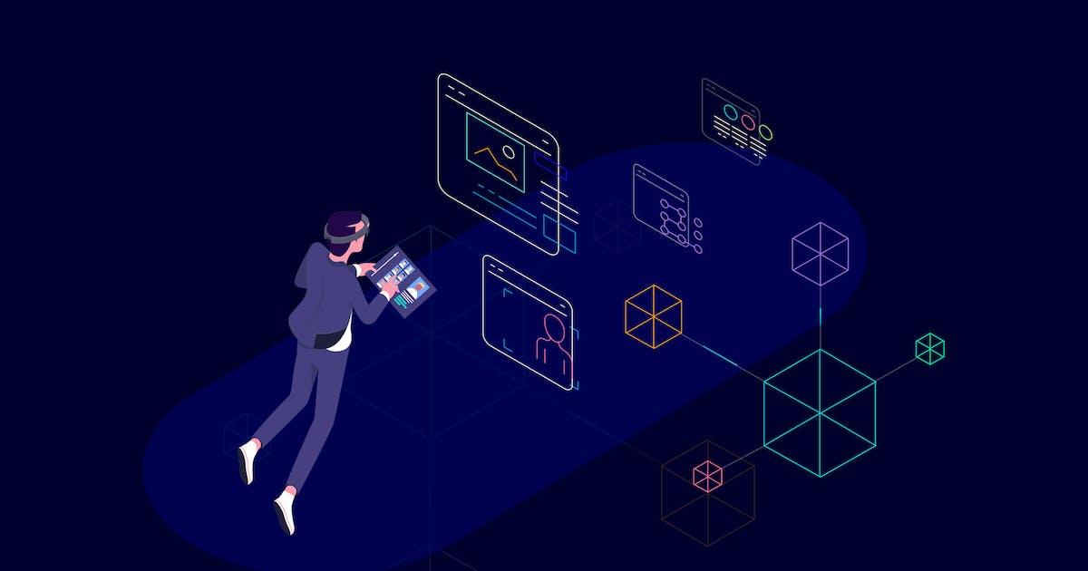 Download VR Blockchain Data Isometric Illustration by angelbi88