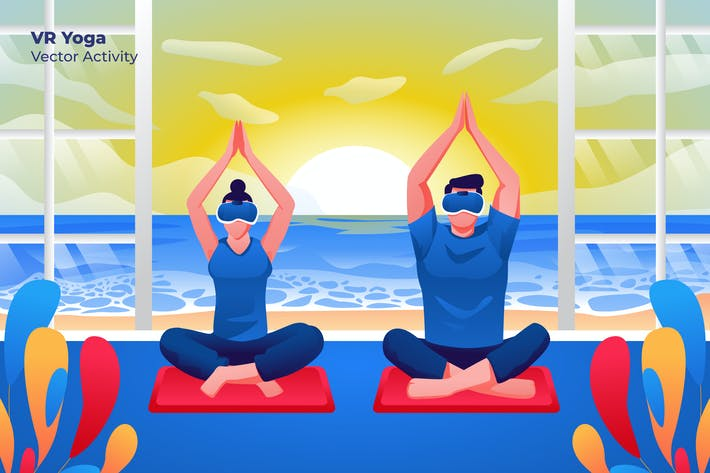 Thumbnail for VR Yoga - Vector Illustration