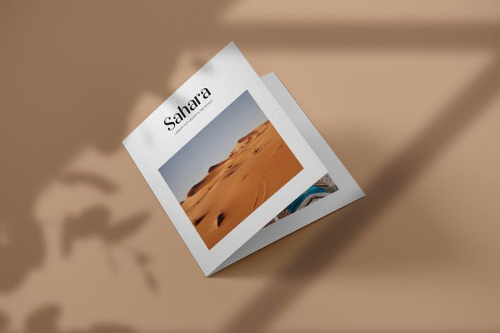 Thumbnail for Square Bifold Brochure Mockup