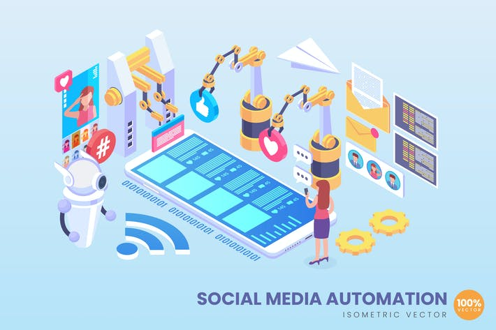 Thumbnail for Isometrische Social Media Automation Vektor konzept