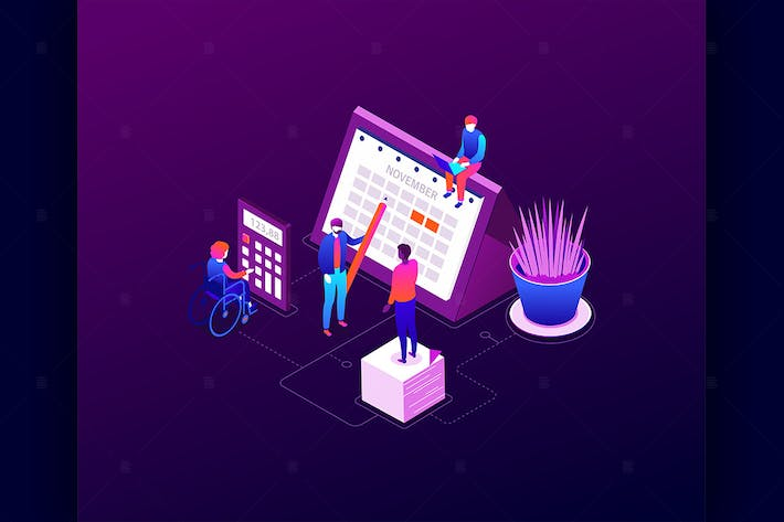 Thumbnail for Efficient planning - isometric illustration