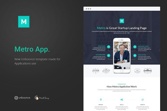 Thumbnail for Metro App - Unbounce Landing Page