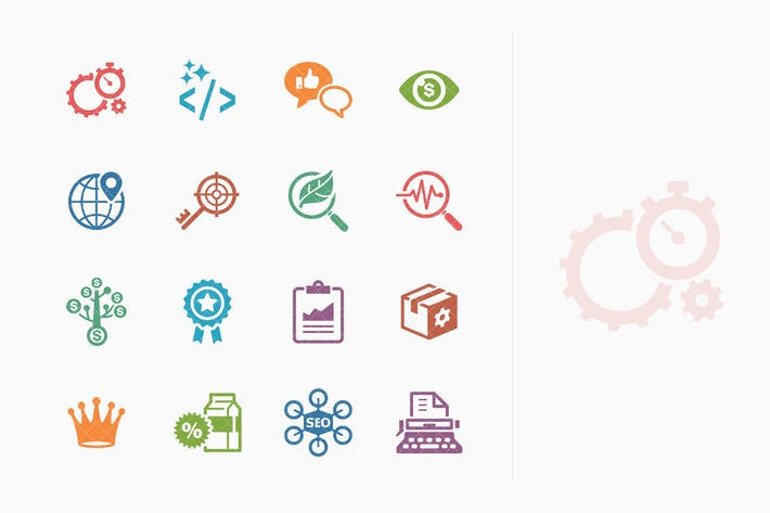 Thumbnail for Colored SEO & Internet Marketing Icons - Set 4