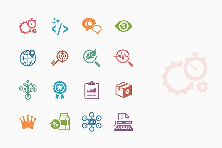 Íconos de marketing en Internet y SEO coloreado - Kit 4