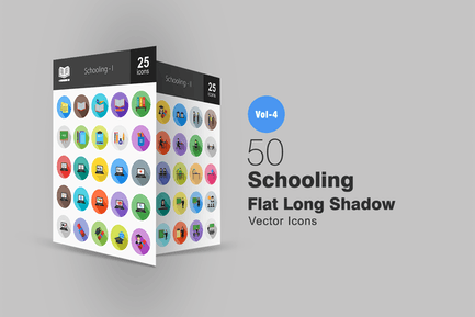 50 Schule-flache Shadowed Icons