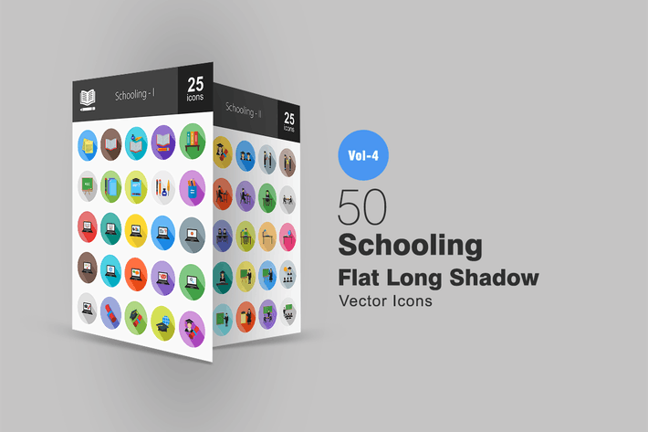Thumbnail for 50 Schooling Flat Shadowed Icons