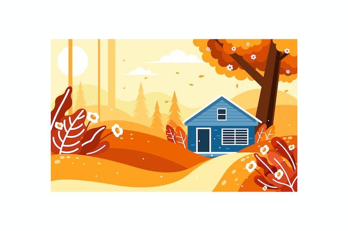 Schöne Herbstlandschaft mit einem Haus im Wald