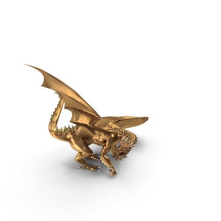 Goldener Drache blickt rückwärts