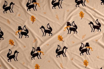 Herbst Fox Vektor Nahtlose Muster Hintergrund