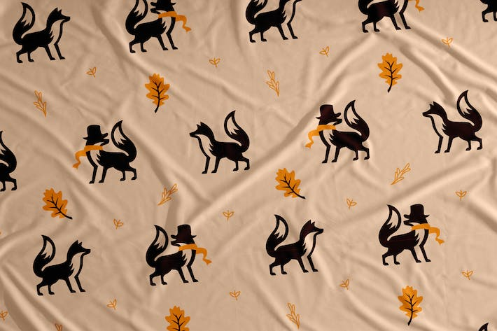 Thumbnail for Autumn Fox Vector Seamless Pattern Background