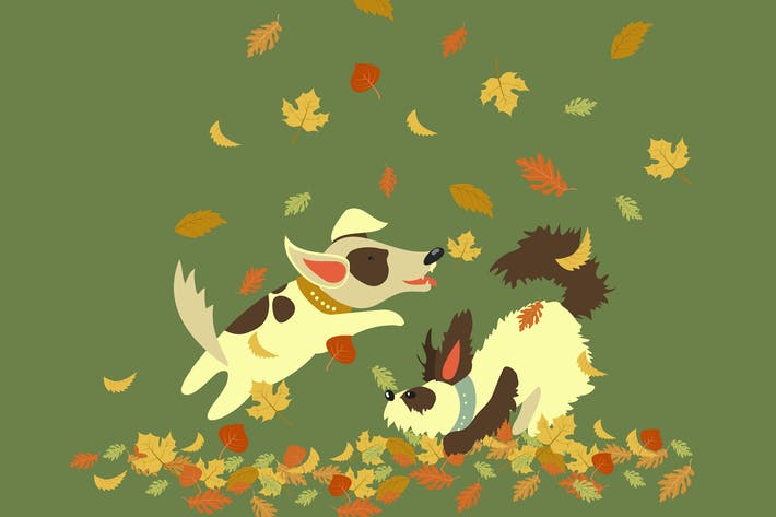 Thumbnail for Funny dogs playing with autumn leaves. Vector