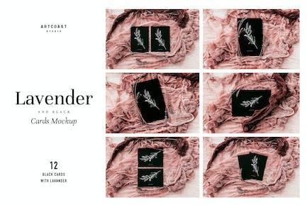 Lavender & Black Cards Mockup