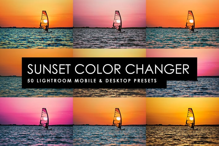 Thumbnail for 50 Sunset Color Changer Lightroom Presets and LUTs