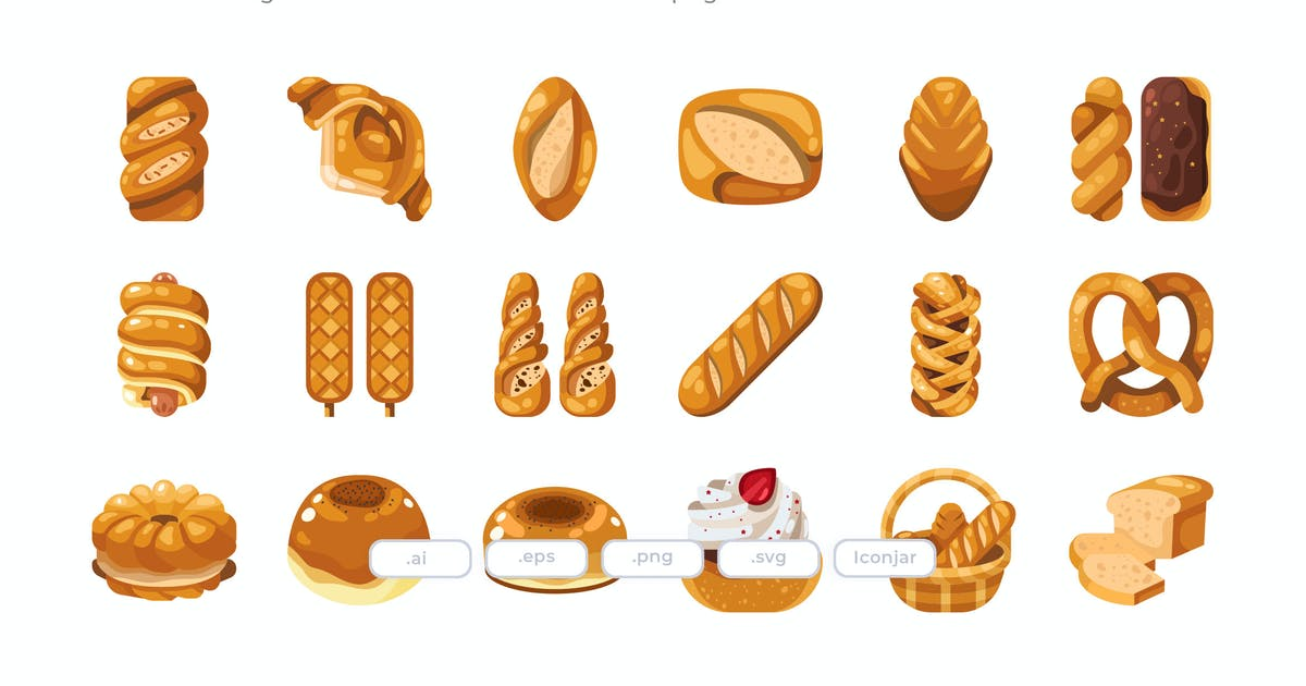 Download 30 Bakery Icons - Flat by Justicon