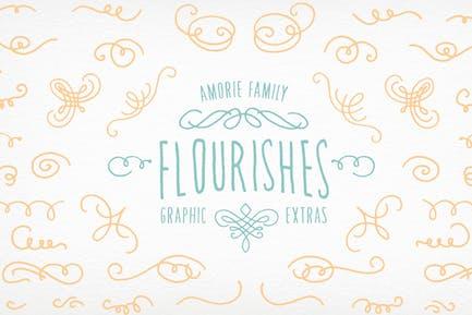 Amorie Font Elements - Flourishes