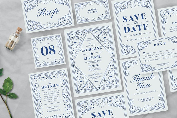 Decorative Wedding Invitation Suite