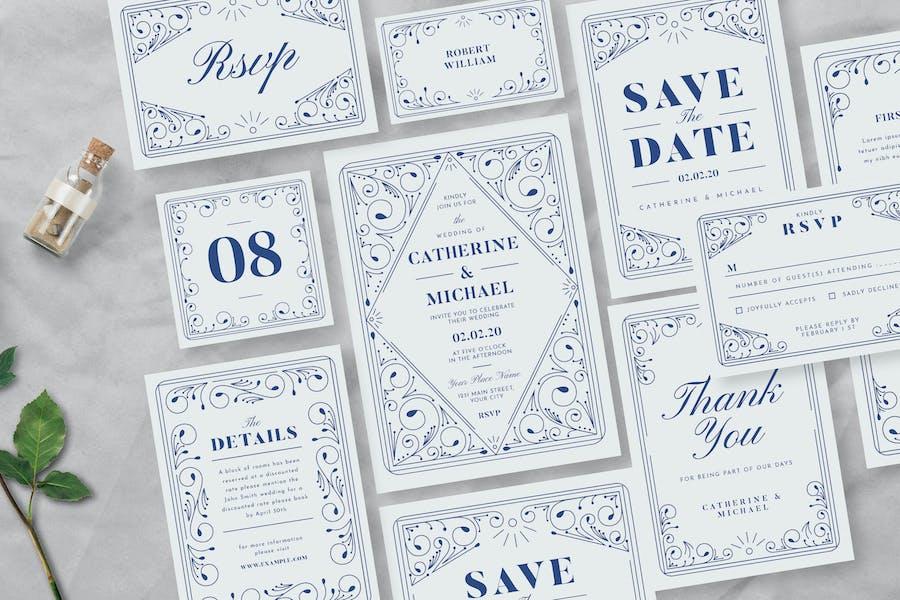 Decorative Wedding Invitation Suite
