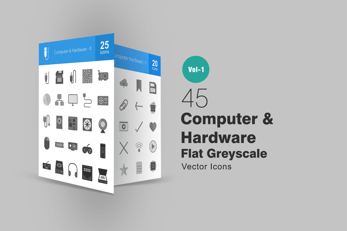 Thumbnail for 45 Computer Greyscale Icons
