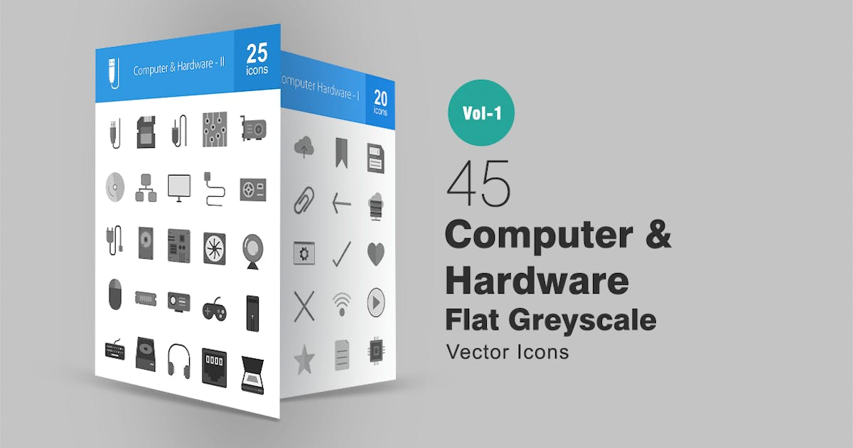 Download 45 Computer Greyscale Icons by Unknow