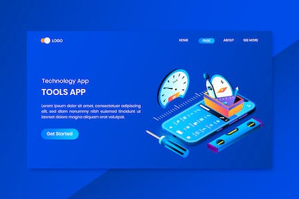 Tools App Isometric Concept Landing Page