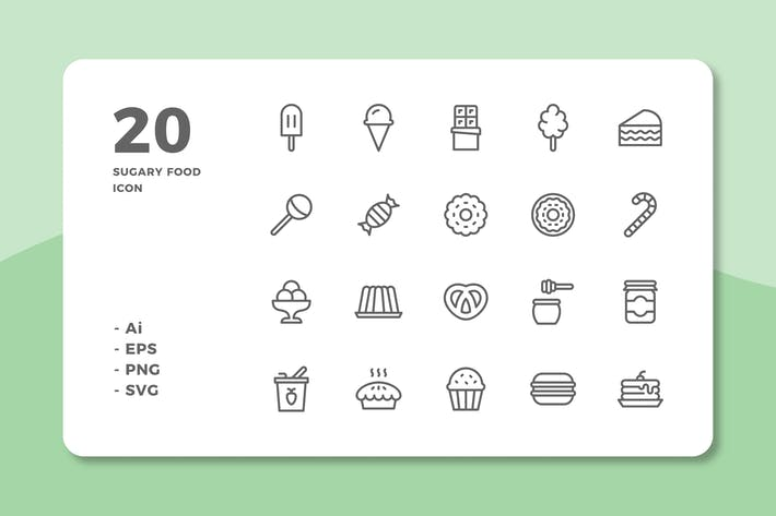 Thumbnail for 20 Sugary Food Icons (Line)